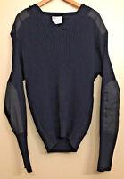 Commando Jack Young Mens 2XL Blue 100% Pil-Trol V-Neck Sweater USA Elbow Patches