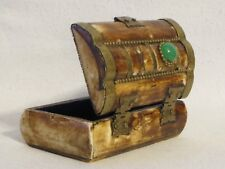 Real Bone Trinket Jewelry Box with Brass Hardware & Green Stone From India