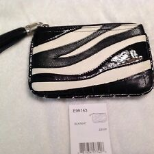 Brighton Zebra Small Black /White Leather Zizi Zip Purse Pouch NWT