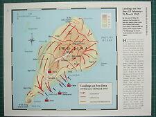 WW2 seconda guerra mondiale mappa ~ pianerottoli su IWO-JIMA 19 feb 26 MAR 1945 USA anticipi prime linee