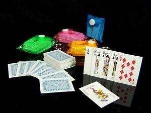 5x 54 Mini POKER Spiel-Karten + Tasche Kartenspiel Romee Skat Mau-Mau