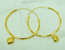 Heart Drop 22K 23K 24K THAI BAHT YELLOW GOLD PLATED HOOPS EARRINGS JEWELRY E114