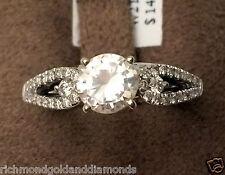white gold Diamond Double Row Solitaire Wrap Ring solitaire enhancer Split shank