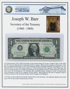 """1963 GEM BARR DOLLAR AND BARR STORY ~  8 1/2"""" X 11"""" FOR FRAMING ~ FREE SHIPPING!"""