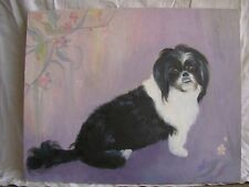 Oil On Canvas Painting Of Shih Tzu Dog Black & White Lavender Background 16X20