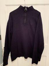 Barbour Cotton Mens Half Zip Jumper Navy Size XL