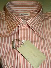 NEW $600 men BRIONI ITALY DRESS SHIRT 15.5 R 35 SL Red beige White Stripes b15