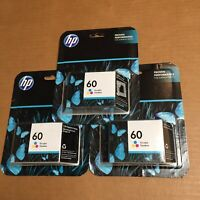 Lot of 3 HP 60 Ink Cartridge Tri Color Genuine Sealed CC643WN New Retail Packs