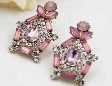 Woman's Pink Crystal Rhinestone Silver Plated Long Ear Stud Hoop earrings 277