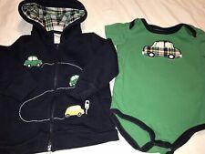 Gymboree Auto Baby Hoodie Bodysuit Cars Plaid 12-18 18-24 Mos Sweatshirt Outfit