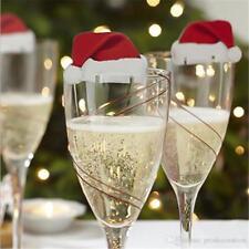 10 x Santa Hat Christmas Wine Glass Decoration  UK SELLER