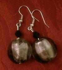 Lampwork drop dangle, silver plated earrings,silver/grey acrylic bead (213)
