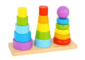 NEW Tooky Toy Wooden Shape Tower - Stacking Rings