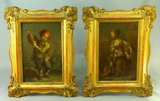 ! GEORGE MORLAND (British, 1763-1804) - Pair Oil on Copper Paintings Boy & Girl