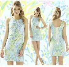 Lilly Pulitzer Blue Heaven Sleeveless Cathy Shift Dress Lace Detail EUC Green 2