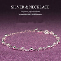 Women 925 Silver Ball Crystal Chain Bangle Cuff Charm Bracelet Xmas Jewelry