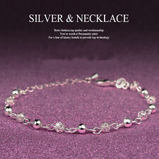 Fashion Women 925Silver Plated Beads Crystal Chain Bangle Bracelet Party Jewelry