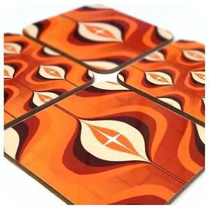 Mid Century Op Art Coasters, Orange coasters,1970's style, retro coasters,