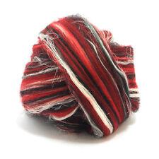50g DYED MERINO WOOL FLAX SCORPIO BLEND RED WHITE BLACK DREADS 64's FELTING