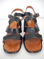 "Vintage 70s 80s Vedettes Black Patent Leather Womens Size 8 B 2.5"" heel Sandal"