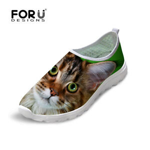 Cute Animal Mesh Casual Shoes Women Lady Funky Breathable Slip On Running Shoes