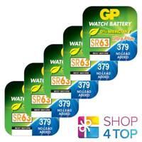 5 GP WATCH BATTERIES 379 SR63 SR521SW VR379 BATTERIES SILVER 1.55V EXP 2021 NEW