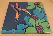 Ceramic Majolica Humming Bird Floral Tile by Karen Waller 13 x 13""