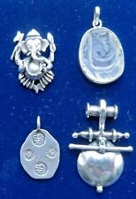 seal, carved rock crystal, Ganesh, ethnic Vintage Silver Pendants x 4 - Chinese