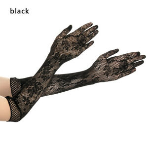 Sexy Mesh Stretchy Floral Long Lace Gloves Gothic Steampunk Fancy Dress Xmas