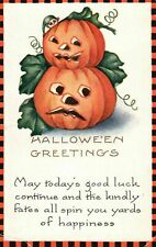 Antique Whitney Halloween Greetings~Postcard JOL Pumpkins~ Checkered Border-k727