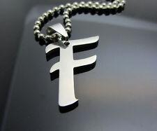 Letter F Women/ Men's Silver 316L Stainless Steel Titanium Pendant Necklace