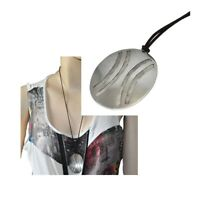 Collier ethnique pendentif en argent massif 925 et cordon marron bijou