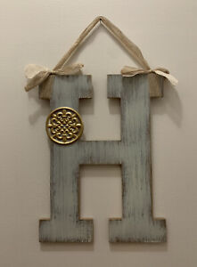 Wooden Farmhouse Rustic Distressed Gray Monogram H Plaque with Burlap Bow