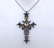 ** STUNNING ** Large GOTHIC Pentagram CROSS Pendant & Chain ** Crystal ROSIFIX