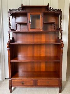 Antique Eastlake Victorian Bookcase Drawers Carvings Glass Door Rod LOCAL PICKUP
