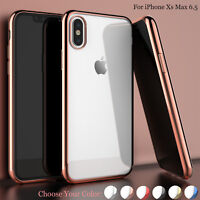 "For Apple iPhone Xs Max 6.5"" Cute Ultra Thin Clear Plating Soft TPU Case Cover"