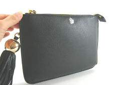 AUTHENTIC NEW Tory Burch Tassel Leather Crossbody/Clutch in Black $248