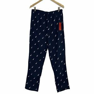 Nautica Men Soft Fleece Elastic Waistband Sleep Pajama Pants Navy White Medium