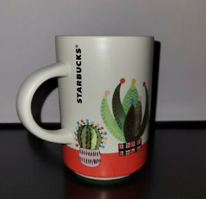 Starbucks 2017 Holiday Coffee Tea Ceramic Mug Cup Cactus Succulents XMAS Lights