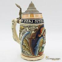 Boccale da birra in ceramica tedesco vintage con coperchio in peltro bicchiere