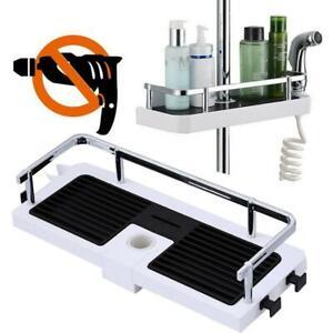 Durable Home Rack Bathroom Shelf Shower Pole Storage Organiser Holder Tray AU
