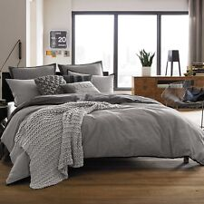 Kenneth Cole Reaction Home Oxford Reversible Duvet Cover in Grey Stripe Twin