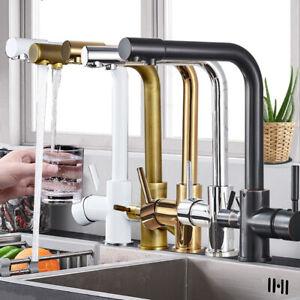 Küchenarmatur 3 Wege Wasserhahn Edelstahl Wasserfilter Osmose Trinkwasserhahn
