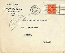 PARIS RUE DU LOUVRE ENVELOPPE LEVY FRERES TISSUS EN GROS 1928