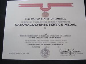 US NATIONAL DEFENSE SERVICE MEDAL CERTIFICATE