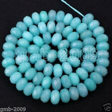 Beautiful 5x8mm Faceted Brazilian Aquamarine Gemstones Abacus Loose Beads 15""
