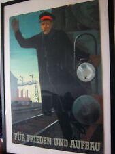 Plakat DDR von 1952 handgemalt Für Frieden und Aufbau einzelstück