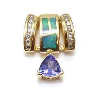 14K Yellow Gold Diamond Black Opal Tanzanite Modernist Slide Pendant LHE2