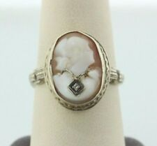 with Diamond Necklace Ring - Size 8.5 Antique 14K White Gold Carved Shell Cameo