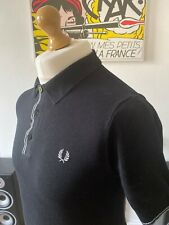 Fred Perry Black Knitted Polo Shirt S Small Ribbed Hem & Cuffs Mod Ska Skins 60s